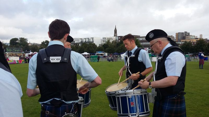 Tweedvale drummers tuning up at the World Pipe Band Championships 2016