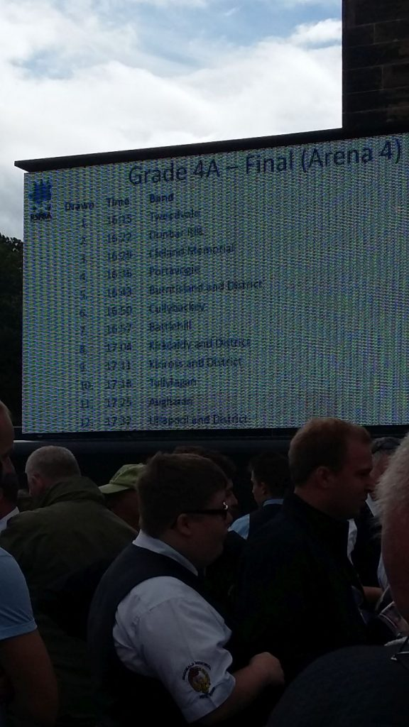 Scoreboard showing draw for Grade 4A Final at World Pipe Band Championships 2016