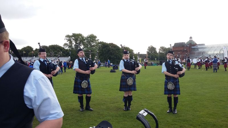 Tweedvale pipers tuning up at the World Pipe Band Championships 2016