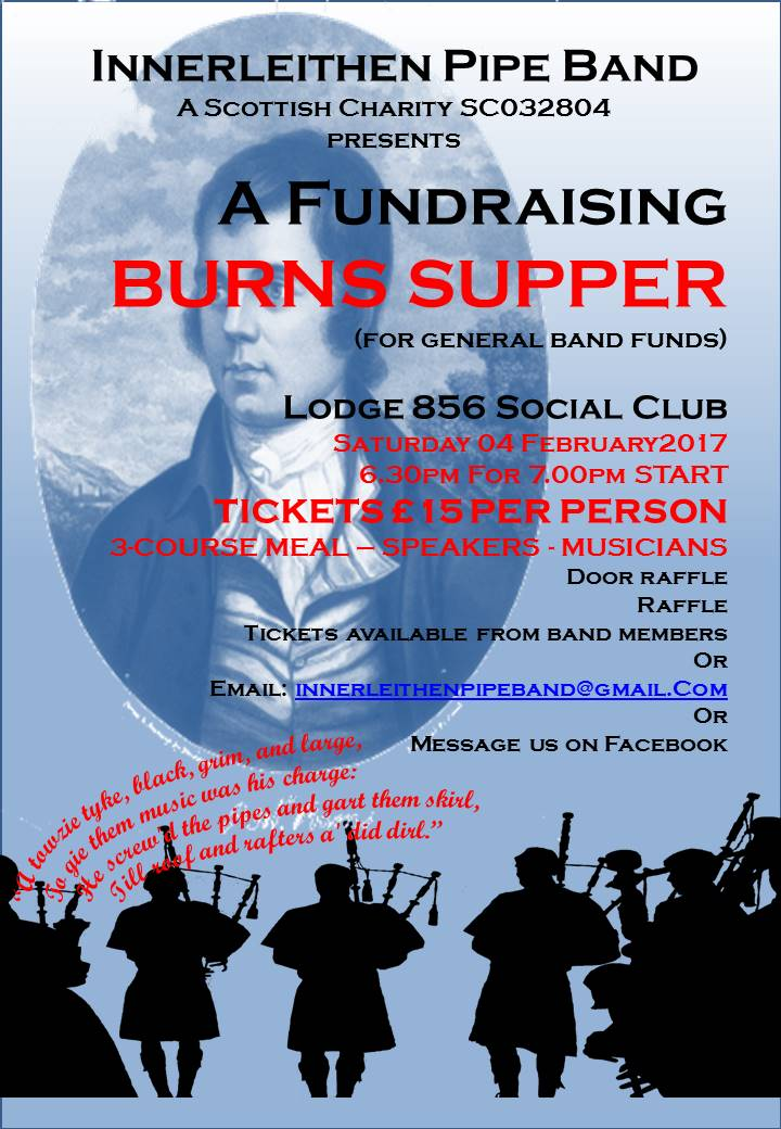 Poster advertising Fundraising Burns Supper 2017 for Innerleithen Pipe Band