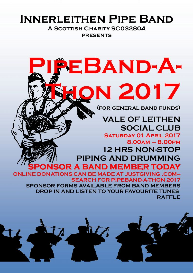 Poster advertising PipeBand-A-Thon 2017