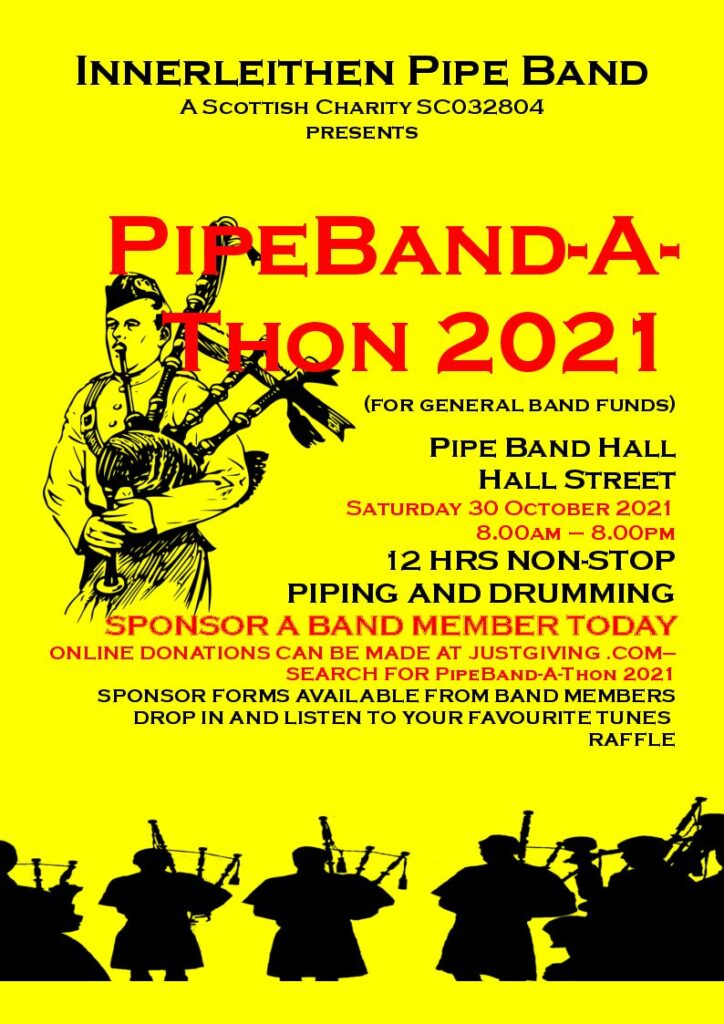 Poster advertising PipeBand-A-Thon 2021